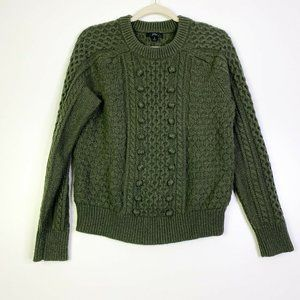 J. Crew Knit Womens Olive Cable Knit Ribbed Medium